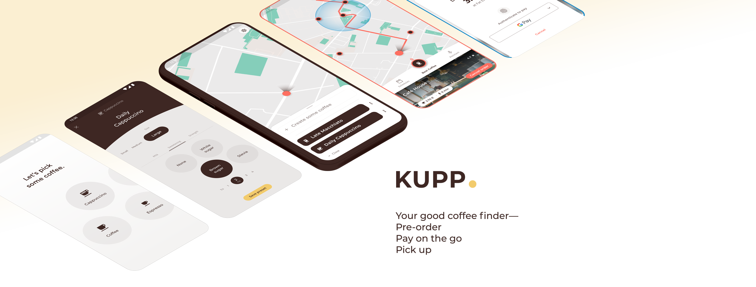 KUPP. Your good coffee finder— Pre-order, Pay on the go, Pick up